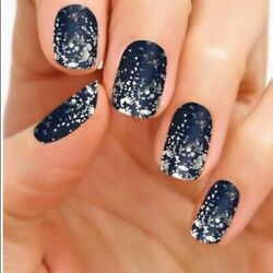 Color Street Nails - Lisbon Nights - Retired Deep Blue With Silver Htf