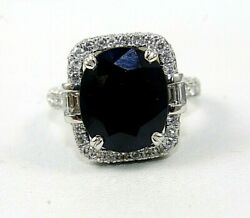 Natural Oval Blue Sapphire And Diamond Halo Solitaire Ring 14k White Gold 10.34ct