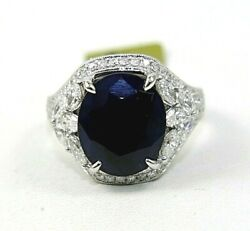 Natural Oval Blue Sapphire And Diamond Halo Solitaire Ring 14k White Gold 8.97ct