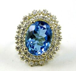 Natural Oval Blue Topaz And Diamond Halo Ladyand039s Ladys Ring 14k Yellow Gold 14.80ct