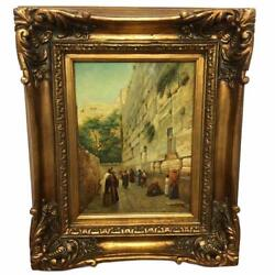 Antique Signed Victor Wailing Western Wall Framed Porcelain Plaque Painting