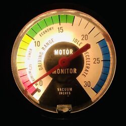 Vintage Vacuum Gauge Motor Monitor With Light. Needle Is A Little Sticky