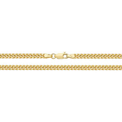 9ct Solid Yellow Gold Close Curb Chain Necklace 16-30 Inch -3.5 Mm R4ulondon