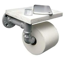 Industrial Toilet Paper Holder With Distressed White Wooden Shelf And White