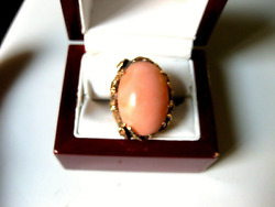 Antique 18k Yellow Gold Massive Ring Arts And Crafts Movement With Fine Coral