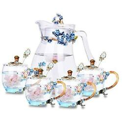 Suq I Ome Cute Mugs Flower Tea Cup Sets With 4 Glass Cups With Lid +teapot Blue