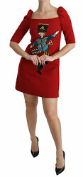 Dolce And Gabbana Dress Womenand039s Red Sequined Toy Shift A-line Wool It42/us6/l