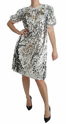 Dolce And Gabbana Dress Womenand039s Silver Sequined Crystal Shift Gown It40/us4/m