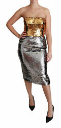 Dolce And Gabbana Dress Women's Gold Silver Sequined Bodycon Midi It44/us8/xl