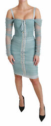 Dolce And Gabbana Dress Womenand039s Blue Bodycon Long Sleeve Stretch It42/us6/l