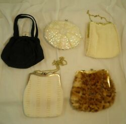 Lot of 5 Vintage Clutch Purses Beads Sequins Dyed Fur Navy Chain Strap MCM As Is $46.95
