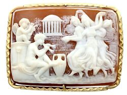 Carved Shell And 14k Yellow Gold Cameo Brooch Antique Victorian Circa 1900