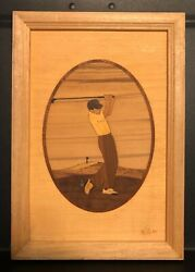 Hudson River Inlay Marquetry Nelson - Man Driver - Golf Wall Plaque Framed
