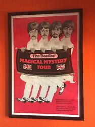 Beatles Magical Mystery Tour Re-release Movie Poster 1974 Rare In Red