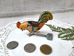 Vintage Tin Litho Wind Up Pecking Rooster Chicken With Key Metal Toy Ussr
