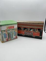 Coca Cola Collectibles Tins Lot Of 2 Cable Car Filing Station