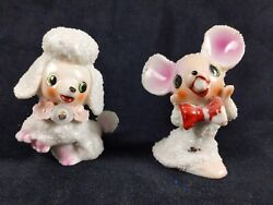 Mouse And Poodle Japanese Porcelain Popcorn Sugar Figurines Lot Of 2