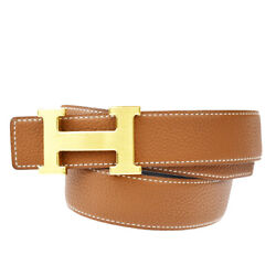 Auth Hermes Constance H Buckle Reversible Belt Leather Silver Brown 80 80bq982