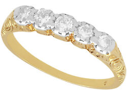 0.30ct Old Cut Diamond 14ct Yellow Gold Five Stone Ring Antique 1920 - Size O