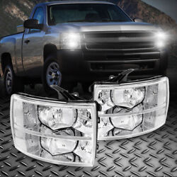 For Chevrolet Silverado 2007 Clear Lens Headlights Assembly Left+right Side Pair