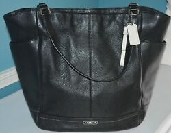 PARK LEATHER NORTH SOUTH TOTE COACH F23662 Excellent Condition Black Sliver $160.00
