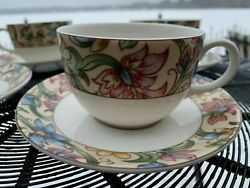 4 Cups And Saucers In Jacobean By Royal Doulton Everyday Excellent Condition
