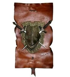 Vintage Shield Plaque Crest Double Sword Metal Leather Made In Italy Wall Decor