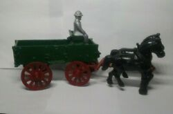 Vintage Stanley Toys Cast Iron Horse Drawn Farm Wagon With Man Made In The Usa