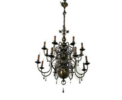 Huge Flemish Double 16 Arms Castle Chandelier Bronze Gilded With Butler Bell Wow