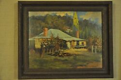 Peter Ewart Canadian 1918-2001 'cabin In A Wooded Landscape' Oil On Canvas