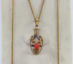Victorian Gold Filled Necklace Red Coral Flower Pendant Lavalier 15 Orig Card