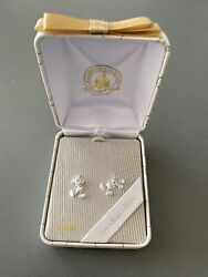 Disney Parks Mickey Mouse Post 925 Sterling Silver Earrings New In Box