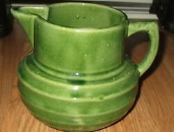 Old Mccoy Pottery Green Ring Pitcher - Shield Mark