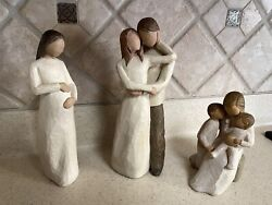 3 Willow Tree Large Figurines Together, Quietly, And Cherish - Susan Lordi