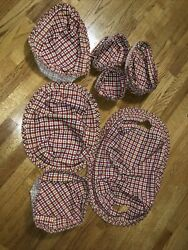 Longaberger Traditional Berry Cherry Red Plaid Basket Liner Lot Of 7 Liners