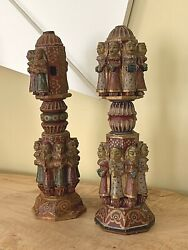 Old Pair Salvage Carved Wood Hindu Indian Temple Figural Finials Sculptures