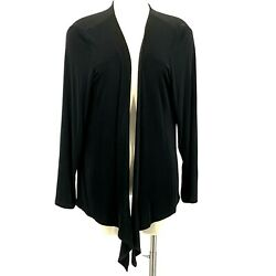 Norm Thompson Cardigan Acetate Top Open Front Black Waterfall Womenand039s Size 1x