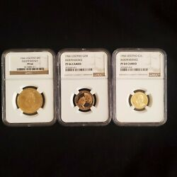Lesotho 1966 3 Coins Independence 4 And2 And 1 Maloti Gold Ngc Pf66 And Pf 64 Cameo