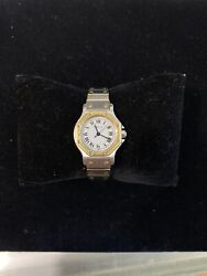 Santos Octagonal Stainless Steel And Gold Ladies Watch Authentic