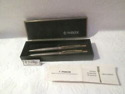 Vtg Parker 75 Classic Sterling Silver Ballpoint Pen And Pencil Set With Box Usa