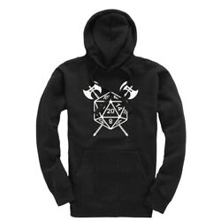 D20 Dice Battle Axes Dnd Dungeon Master Tabletop Gaming Hoody Hoodie Hooded Top