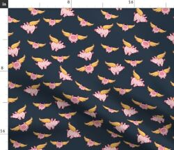 Flying Pig Gray Pigs Fly Farm Animal Fantasy Spoonflower Fabric By The Yard