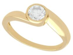 0.51 Ct Diamond And 18 Ct Yellow Gold Twist Solitaire Ring Vintage French 1950s
