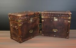 Handmade English Antique Leather Campaign Style Trunks Chests Side Table 2 Pair