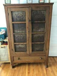 19th Century Original Punched Tin Pie Safe- Country Style