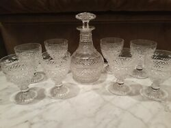 Vintage Stuart Crystal Decanter Set Beaconsfield Cut Decanter And 8 Wine Glasses