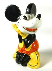 Mickey Mouse 1930and039s Figurine/ Bank Hand Painted Faiencerie Dand039 Onnaing Rare