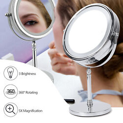 Dimmable LED Makeup Mirror 5x Magnifying Double Sided Magnified Vanity Mirror