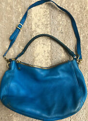J.Crew Leather Biennial Hobo Blue Grotto Leather Bag Purse Large Retail: $325 $28.00