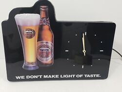 Vintage Amstel Light Beer Light Up Sign Wall Or Counter Top Clock Advertising